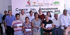 Entregan en Teapa apoyos del Programa de Empleo Temporal