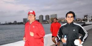 Ejercicio matutino del gobernador Javier Duarte por el Bulevar de Veracruz