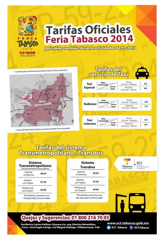 TARIFAS A LA FERIA TABASCO 2014