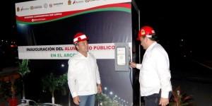 Pone en servicio el gobernador alumbrado público del arco vial y avenida 125 Playa del Carmen