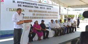 Concluyen policías de Paraíso y Centla Diplomado en Juicios Orales