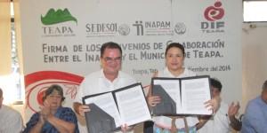 Firman Convenios de Colaboración INAPAM y Ayuntamiento de Teapa