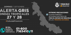 Activan Alerta Gris por lluvias en Veracruz