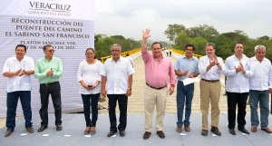 Inaugura Javier Duarte reconstrucción del puente El Sabino-San Francisco