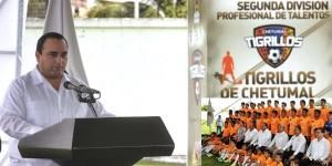 Presenta el gobernador Roberto Borge a los Tigrillos de Chetumal de la segunda división