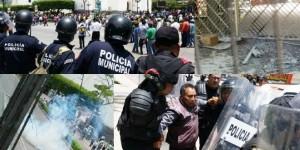 Indígenas de San Juan Chamula causan destrozos en Palacio de Gobierno