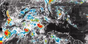 Tormentas de muy fuertes a intensas, se prevén desde el Sureste a la Península de Yucatán