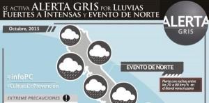 Activa PC Alerta Gris preventiva por temporal de lluvias y rachas de viento para Veracruz