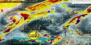Se prevén lluvias muy fuertes en Tamaulipas, Veracruz, Tabasco y Chiapas: SNM