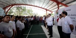 Entrega el gobernador Domo Deportivo, a los habitantes de la comunidad de Francisco Uh May en Tulum