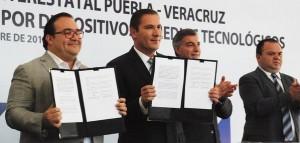 Firman gobiernos de Veracruz y Puebla carta de intención para disminuir accidentes de tránsito