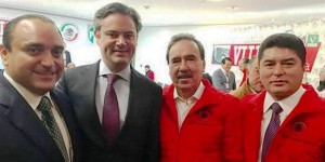 Cordial reunión de Roberto Borge en el Senado con Aurelio Nuño, Emilio Gambia y Félix González Canto