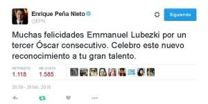Felicita el Presidente Enrique Peña Nieto al fotógrafo mexicano Lubezki