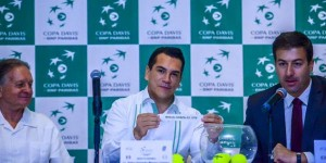 Gobernador Alejandro Moreno Cárdenas asiste a ceremonia de sorteo de partidos de la Copa Davis