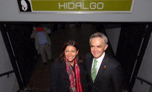 Viajan en Metro de CDMX Jefe de Gobierno y Alcaldesa de París
