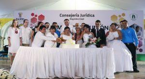 Multitudinario enlace matrimonial de parejas yucatecas