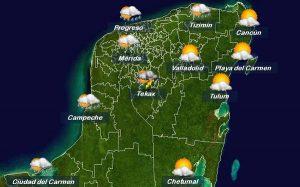 Altas temperaturas este miércoles y el jueves ingresa a la Península de Yucatán el Frente Frío 39