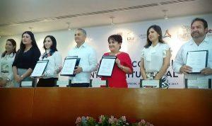 Congreso de Campeche firma convenio con IEEC, INE y TEEC