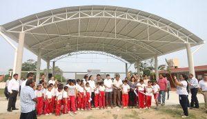 Cumple gobierno de Centro con techumbre en escuela primaria de la Ranchería El Espino