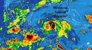 La tormenta tropical Franklin se desplaza ahora sobre Campeche rumbo al Golfo de México