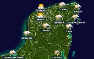 Onda Tropical favorece lluvias, temperaturas calurosas en la Península de Yucatán
