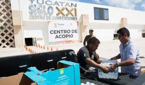 Coordinación y orden en Yucatán, durante recepción de víveres en centros de acopio