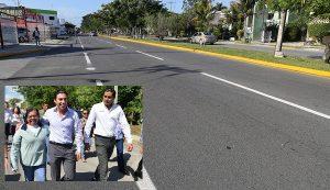 Entrega Remberto Estrada reconstrucción de la avenida Luna en Benito Juárez