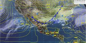 El frente frio numero 36 recorre el norte y noroeste de México