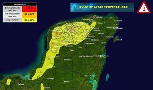 Se pronostican temperaturas muy calurosas en la Península de Yucatán