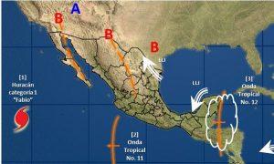 Se prevé un temporal de lluvias en el sureste de México debido al paso de la Onda Tropical 12