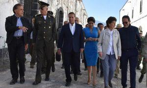 Recorren secretarios de la Defensa, Cultura y Turismo con Yunes Linares fortaleza en perote, Veracruz