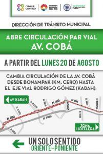 Adelanta transito habilitación de par vial en avenida Cobá
