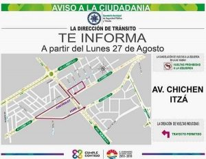 Queda prohibida vuelta a la izquierda en Kabah con Chichen Itzá en Benito Juárez