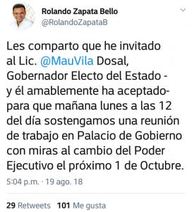 Invita Rolando Zapata Bello a Mauricio Vila Dosal para reunirse en palacio de gobierno