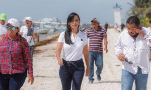 Trabajo coordinado permite hacerle frente a contingencia por sargazo: Laura Fernández