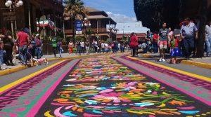 Centro de Orizaba se llena de colorido con los tradicionales tapetes de San Miguel
