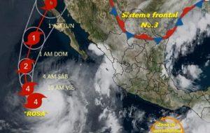 Rosa tocaría tierra como tormenta tropical el lunes en Baja California