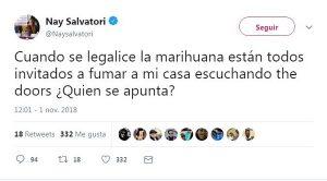 Diputada de Morena, invita en twitter a fumar mariguana y a escuchar a los Doors