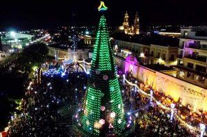 Encienden árbol de navidad en la plaza de la república en Campeche