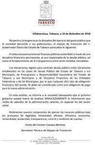 Nueva administración analizará minuciosamente deudas del gobierno de Núñez: Comunicado