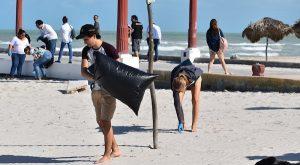 Talentos del Festival de la Trova limpian playa de Sisal en Yucatán