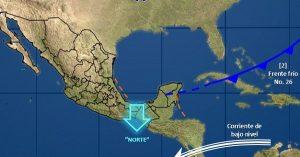 Se prevé Norte en el Istmo y el Golfo de Tehuantepec así como en Tabasco, Campeche y Yucatán
