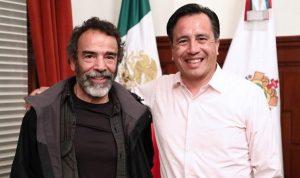 Visita el actor Damián Alcázar a Cuitláhuac García en Palacio de Gobierno en Veracruz