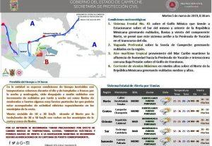 Nuevo frente frio 41 cambiara condiciones del tiempo en Campeche: SEPROCI