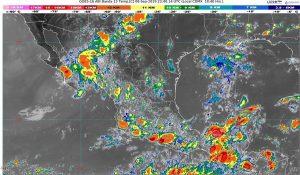 Durante las próximas horas se pronostican lluvias intensas en Chiapas, Guerrero, Oaxaca y Tabasco