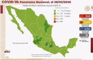 Suman 16 muertos por Covid-19 en México; hay 848 casos confirmados y 2 mil 623 sospechosos