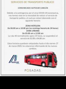 Suspende transporte las 24 horas a la zona hotelera: AutoCar