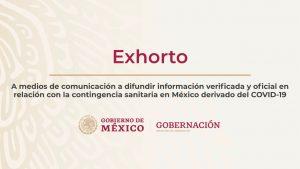 Exhorto a medios de comunicación para difundir información verificada y oficial con relación a COVID-19