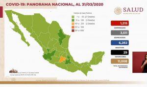 Suman 29 muertes por COVID-19 en México; hay 1,215 casos confirmados