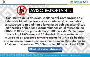 Ley seca en Quintana Roo para mantener el orden: Sefiplan